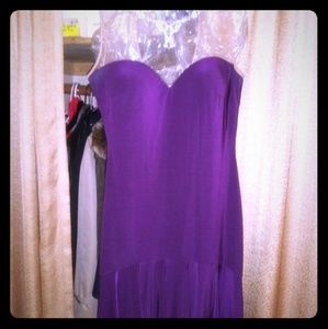 PURPLE DRESS WITH MESH TOP & DIAMOND DETAILS